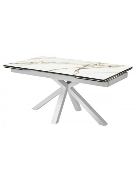 Стол ALTO 160 KL-188 Контрастный мрамор матовый, итальянская керамика/ белый каркас М-City