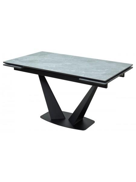 Стол Ниагара 140 Серый мрамор, керамика / черный каркас М-City