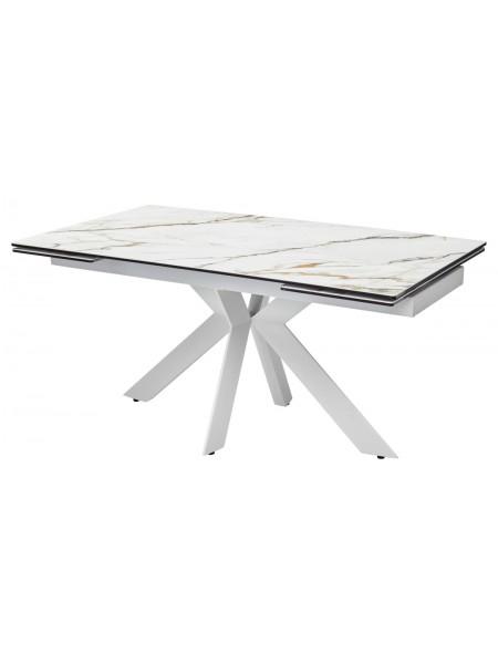 Стол BELLUNO 160 KL-188 Контрастный мрамор матовый, итальянская керамика/ белый каркас М-City