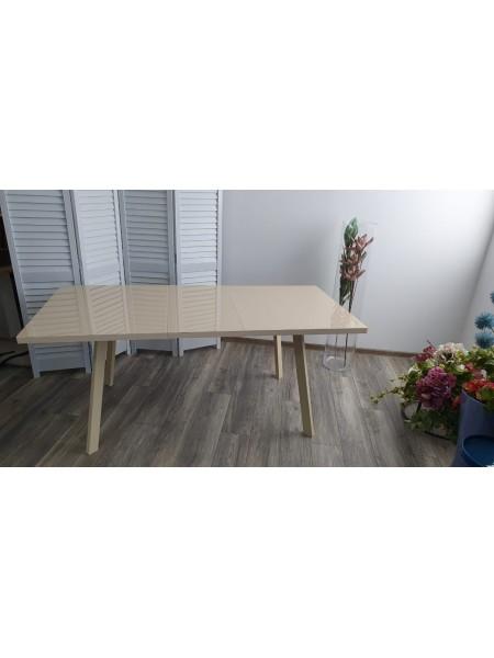 Стол ФИН 140 Кремовый, стекло/ Кремовый каркас М-City