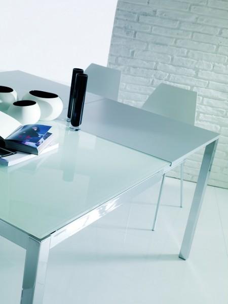 Стол MAGO (01.34) 100/140*70*Н75 см (G093/ G093/ С150 э-бел.глянц.стекло+L072 ал)