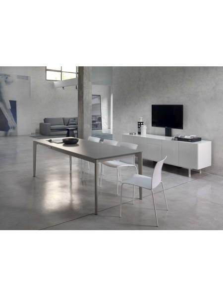 Стол DOTO (20.09) M306/ M306 белый/ С150 TOP+EXT белое гл. стекло