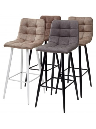 Барный стул SPICE MF-06 теплый серый, ткань микрофибра / белый каркас М-City