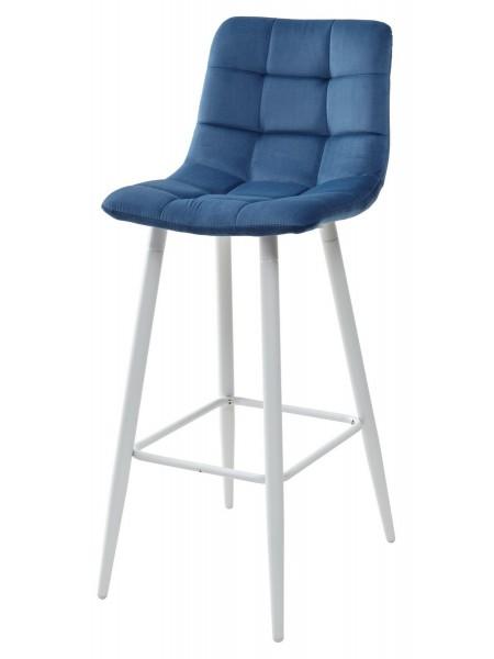 Барный стул LECCO UF910-18 NAVY BLUE, велюр/белый каркас М-City