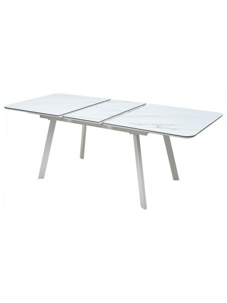 Стол ARUBA 140 GREY-WHITE/ WHITE глазурованное стекло М-City