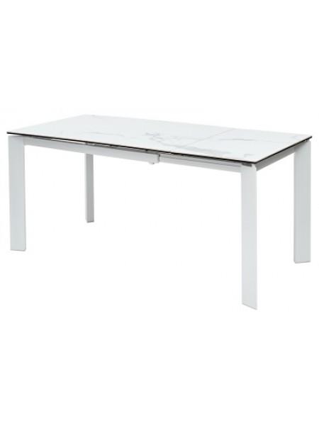 Стол CREMONA 160 HIGH GLOSS STATUARIO Белый мрамор глянцевый, керамика/ белый каркас М-City