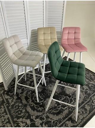 Барный стул LECCO UF910-02 LIGHT GREY, велюр/белый каркас М-City