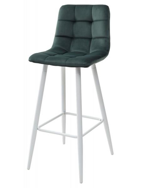 Барный стул LECCO UF910-14 DARK GREEN, велюр/белый каркас М-City