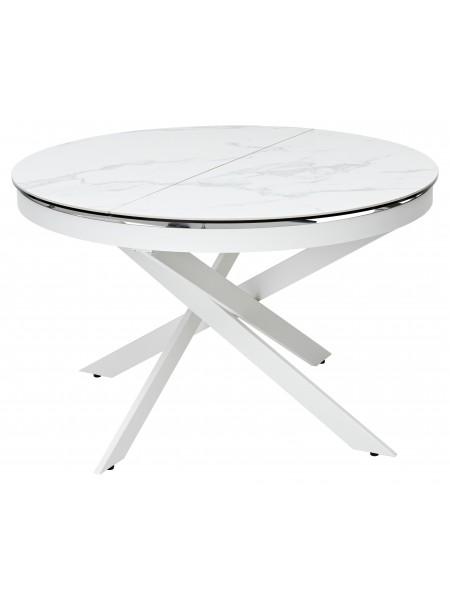Стол TRENTO 120 HIGH GLOSS STATUARIO Белый мрамор глянцевый, керамика/ белый каркас М-City