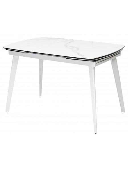 Стол ELIOT 120 HIGH GLOSS STATUARIO Белый мрамор глянцевый, керамика/ белый каркас М-City