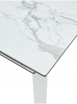 Стол CORNER 120 HIGH GLOSS STATUARIO керамика/ белый каркас М-City