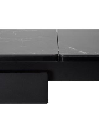 Стол ALEZIO 160 NERO KL-116 Черный мрамор матовый, итальянская керамика/ черный каркас М-City