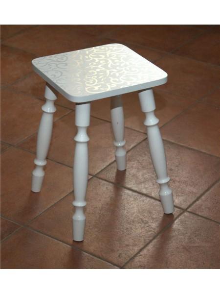 Табурет на деревянных ногах (Белые цветы (лоза) 2553) Белый