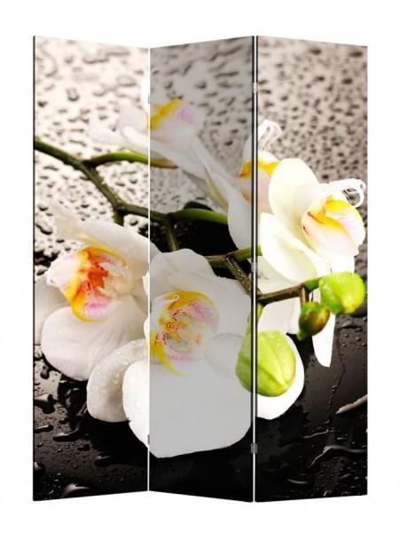 """Ширма 1111-3 """"Белая орхидея и капли"""" (3 панели)"""
