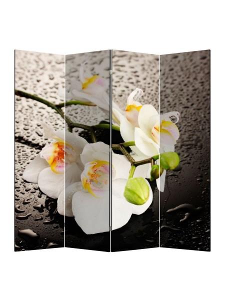 """Ширма 1111-4 """"Белая орхидея и капли"""" (4 панели)"""