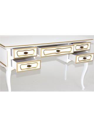 Стол 25 (Белый+золотая патина) большой 269