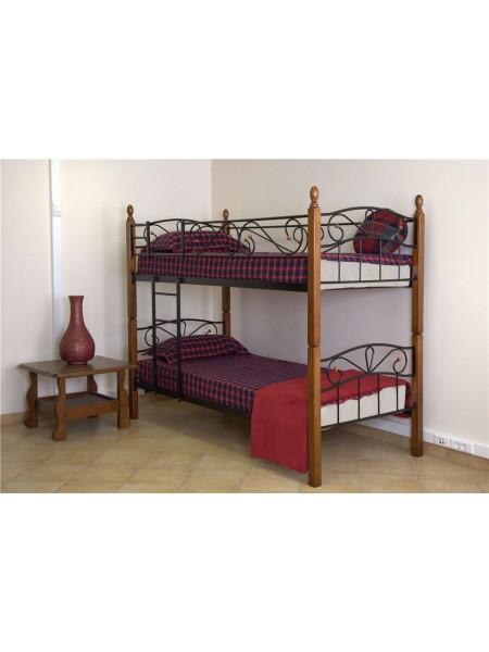 Двухъярусная кровать Глэдис - DD (90х200) Темный орех/черный металл
