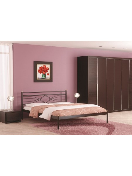 Кровать двуспальная Мираж (120х200/металлическое основание) Коричневый бархат