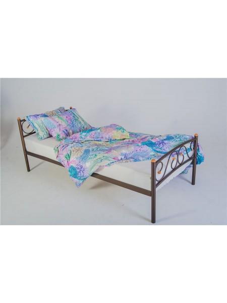 Кровать односпальная Валерия с изножьем (90х200/металлическое основание) Коричневый бархат