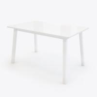 ТИРК стол раздвижной со стеклом 130(175)х80 см, Белый/Белый