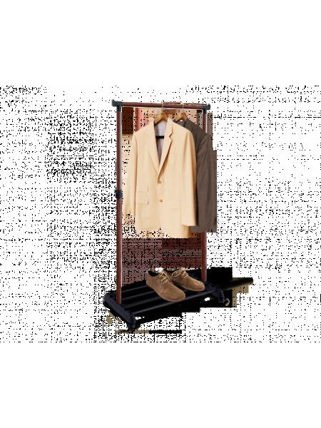 Стойка для одежды 4345 Sheffilton (металл-пластик/черный-темный орех)