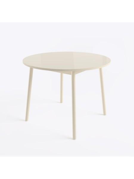 РАУНД стол круглый раздвижной со стеклом D100(137х100) см, Кремовый/Кремовый