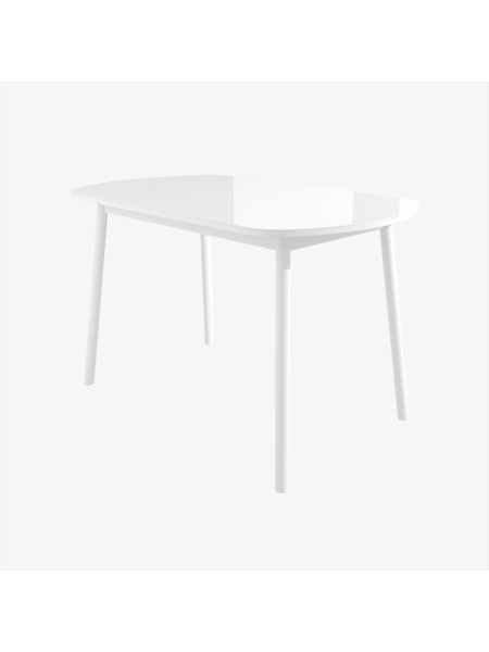 РАУНД стол раздвижной со стеклом 120(152)х70, Белый/Белый
