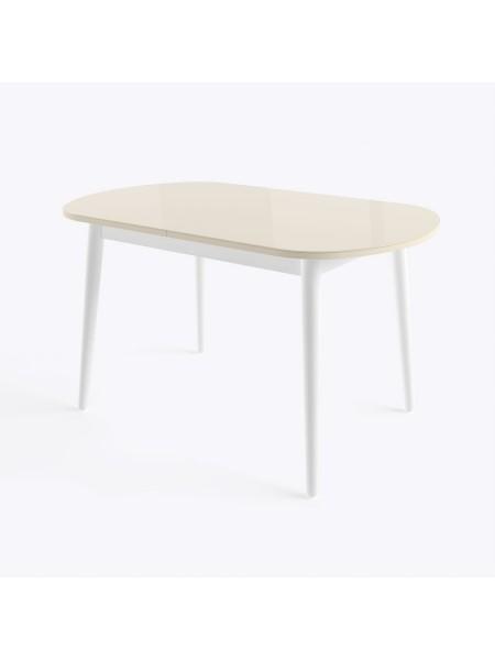 БЕЙЗ МХ Стол раздвижной со стеклом 130(160)Х80 см, Кремовый/Белый