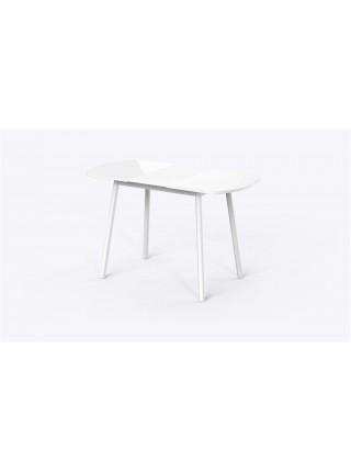 РАУНД Стол раздвижной со стеклом 94(124)х64, Белый/Белый