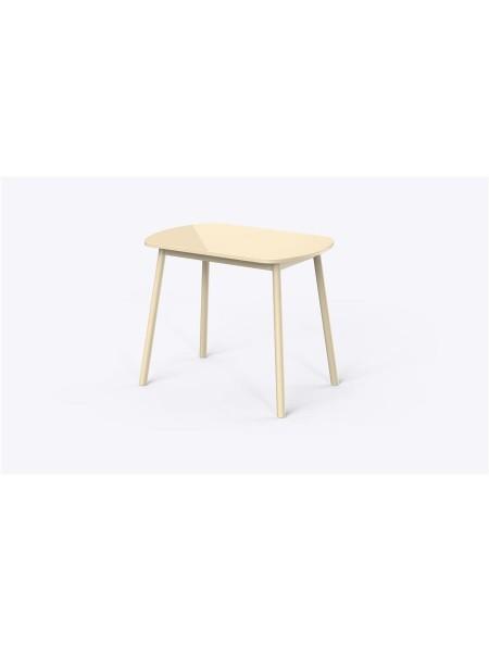 РАУНД стол раздвижной со стеклом 94(124)х64, Кремовый/Кремовый