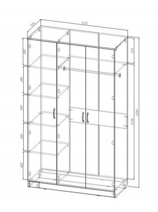 Шкаф для гостиной Sanvut Виола МВ6З с Зеркалом
