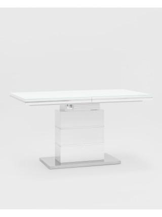 Стол обеденный Глазго раскладной 140-170*80 глянцевый белый