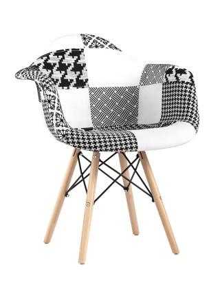 Кресло DSW пэчворк черно-белое