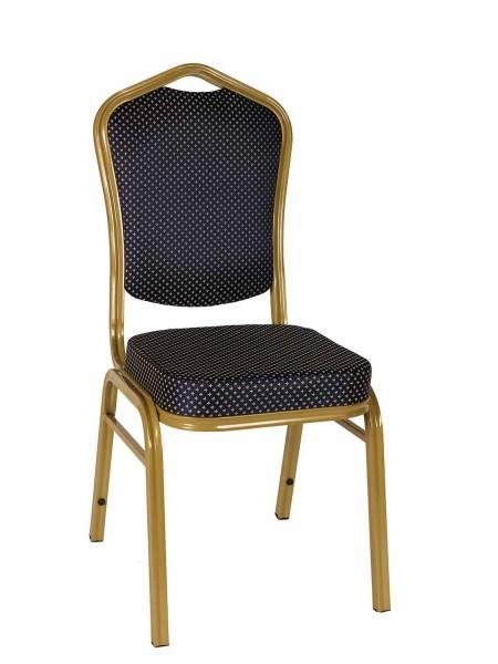 Банкетный стул Квадро 25 мм - золотой, синяя корона