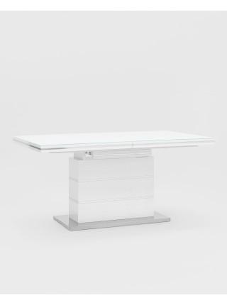 Стол обеденный Глазго раскладной 160-215*90 глянцевый белый