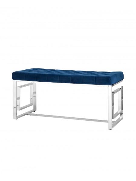 Банкетка-скамейка БРУКЛИН велюр синий сталь серебро