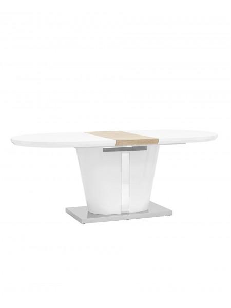 Стол обеденный Мулен раскладной 160-220*90 глянцевый белый