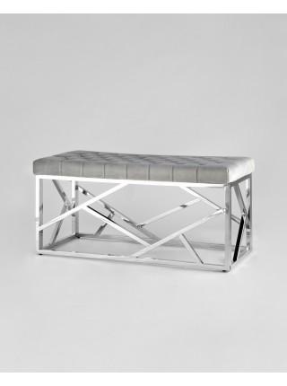 Банкетка-скамейка АРТ ДЕКО велюр серый сталь серебро