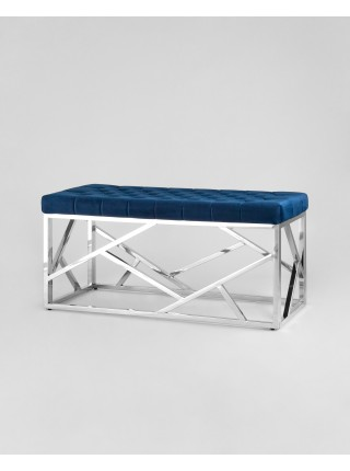 Банкетка-скамейка АРТ ДЕКО велюр синий сталь серебро