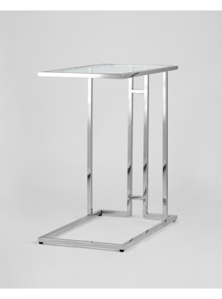 Журнальный столик 50*32 БОСТОН прозрачное стекло сталь серебро