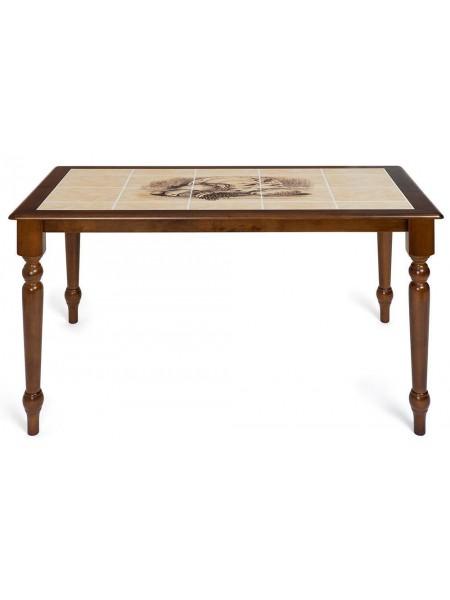 CT 3045P Стол с плиткой дерево гевея/плитка, 115х70х76см, Тёмный Дуб, рисунок-Натюрморт