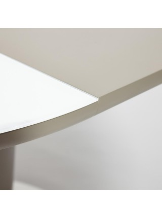 Стол LUNA ( mod. 8064 ) металл/мдф/стекло 6 мм, 120+40x120x75 см, белый/серый/хром