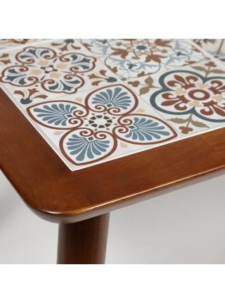 CT3052 Tanger стол с плиткой дерево гевея/плитка, 74*134*75см, Тёмный Дуб, рисунок - марокко