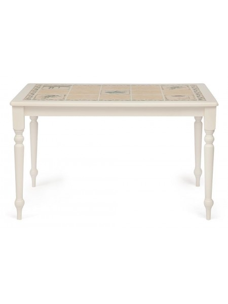 "CT 3349 Стол с плиткой Цвет: butter white, рисунок - ""Прованс с бордюром"""