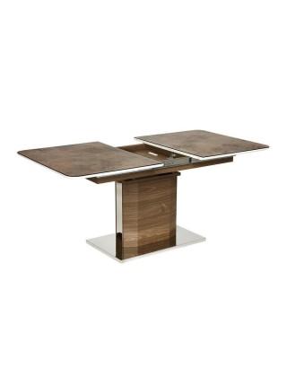"Стол RADCLIFFE( Mod. EDT-VG002) мдф high glossy, закаленное стекло, 120/150x80x75, коричневый, стекло ""burning stone"""