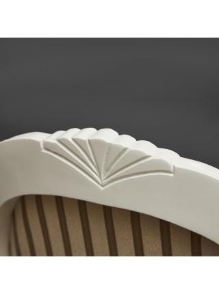 Кресло Fiona2 ( FN-AC2 ) дерево гевея, 60х55х97см, ivory white (слоновая кость) (2-5), ткань бежевая полоска TX-1B