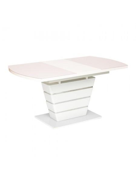 Стол SCHNEIDER ( mod. 0704 ) мдф high glossy, закаленное стекло, 120/160х80х75см, белый с розовым оттенком