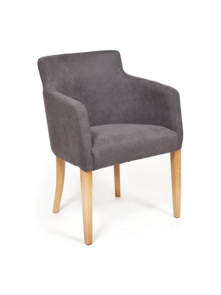 Кресло KNEZ Бук, 650*650*600, ножки: натуральный , ткань: серый (панда 37)