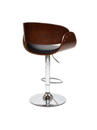 Барный стул LANDO (mod.4036) металл/дерево/экокожа, 59х51х93-114 см, высота сиденья 62-83 см, черный/орех/хром