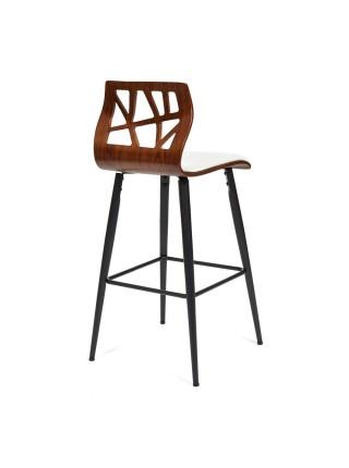 Барный стул TAIGA (mod.4042B) дерево / экокожа, 47х48х102 см, высота сиденья 74 см, орех/белый